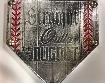 STRAIGHT OUTTA The DUGOUT Home Plate custom team name plaque trophy award wall art champion sign gift metal personalized baseball softball