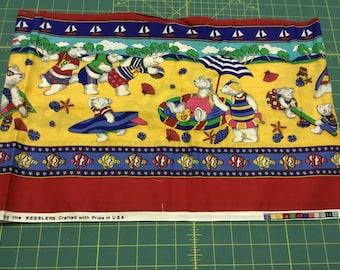 "The Kesslers Bears on the Beach fabric strip.  74"" long x 12"" wide"