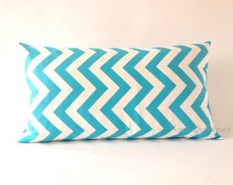 10x20 Aqua and White Chevron Decorative Bolster Pillow Cover- Medium Weight Cotton Print- Invisible Zipper Closure- Cushion Cover