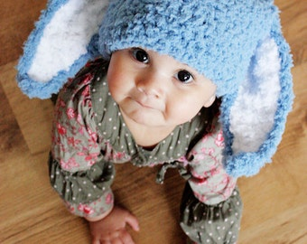 3 to 6m Baby Boy Hat Bunny Beanie Bunny Ears Crochet Baby Hat Lagoon Blue White Baby Bunny Hat Infant Photo Prop  , Baby Gift
