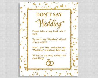 Don't Say Wedding Game Sign, White & Gold Glitter Confetti Wedding Shower Game, Bridal Game, INSTANT PRINTABLE