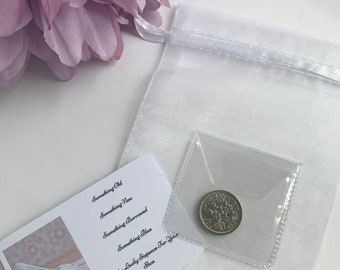 Lucky Sixpence Bride, Sixpence for her Shoe, Sixpence Gift for Bride, Silver Shoe Wedding, Wedding Shoe for Bride, Wedding Gift Keepsake