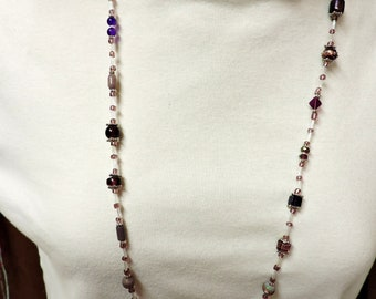 Shades of Purple Necklace and Bracelet .... Purple Beads with Silver Accents ...  about 35 inches long