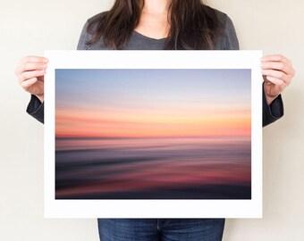 Florida Gulf Coast ocean photography print, serene coastal decor. Abstract seascape photograph, dreamy modern beach artwork, large format