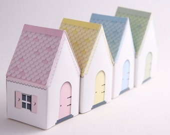 Fairy Party Favors Templates DIY House Gift Box, Wedding Favors, Fairy House,House Shaped Box Fairy Party Decor Printed Favor Box Template