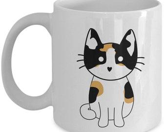 Calico Cat Coffee Mug - Calico Cat Mug - Funny Tea Hot Cocoa Cup - Novelty Birthday Christmas Anniversary Gag Gifts Idea