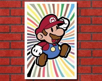 11x17 Retro Mario Jumping Digital Print