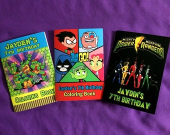 12 Personalized Coloring Books, Party Favors - Teenage Mutant Ninja Turtles, TMNT, Teen TitansGo!, Power Rangers