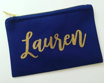 Personalized Makeup bag, cosmetic bag, personalized tote bag, bridesmaid gift, bride gift, custom tote, navy blue, gold, glitter, pencil bag