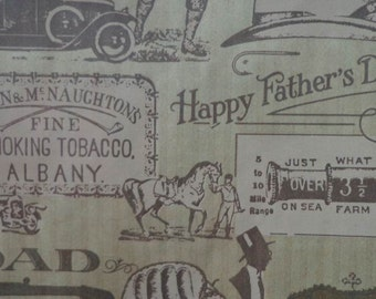 Vintage Gift Wrap 1970s Fathers Day Wrapping Paper-2 Sheets NIP- Gentlemen of the Road