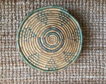 70s Vintage African Woven Bohemian Basket Box