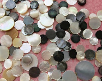 B50 Vintage assortment MOP cabochons 200+ different sizes jewelry crafts mosaics collage scrapbooking