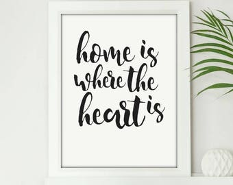 Home Is Where The Heart Is - Digital Print Download, Wall Art, Typography print, Printable Quote, Art Print