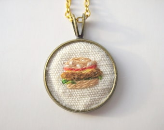 Embroidered hamburger necklace