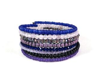 Purple Wrap Bracelet, Glass Beaded Bracelet, Crystal Bead Bracelet, Amethyst Stone Memory Wire Bracelet with Key Charm, Boho Jewelry