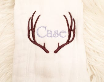 Baby Burp cloth Antlers, baby boy