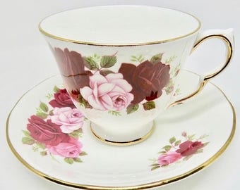 Queen Anne Red & Pink Roses Teacup and Saucer, Bone China, Pattern #8660
