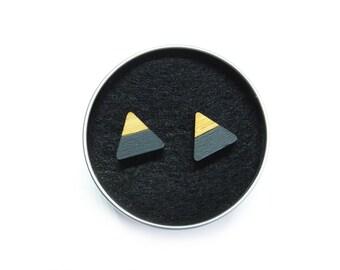 Mountain Studs / Earrings, Geometric Stud Earrings, The Mountains Are Calling, Mountain Jewellery, Mountain Gifts, Wooden Earrings, Grey