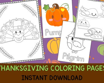 Thanksgiving Coloring Book Pages - The Crayon Crowd, printable, party favors, Coloring book, Sheets, kids, pdf, fall, turkey, pumpkin