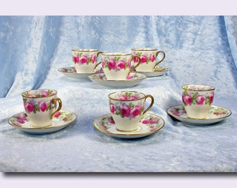 Set of 6 Limoges Demi-tasse Cups and Saucers c. 1910