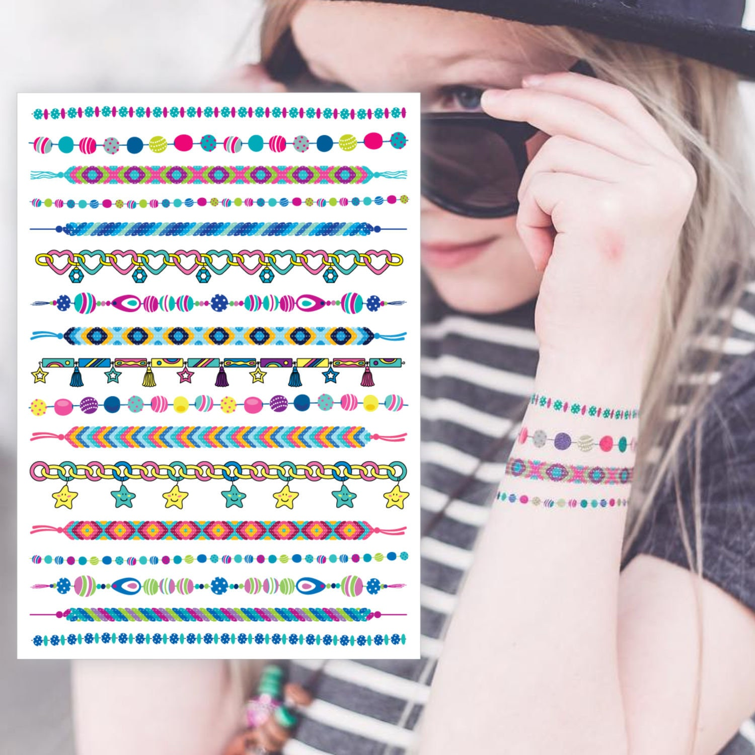 """Temporary tattoo set of bracelets """"Arm candy"""". Chain with charms, hippie friendship tattoo bracelets. Girls party favors, gift for girls."""