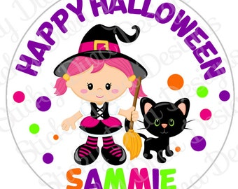 PERSONALIZED STICKERS - Halloween Sweet Witch Personalized Monogrammed Labels -Perfect for Treat Bags - Round Gloss Labels