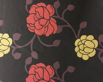 Chocolate floral pattern cotton Fabric By The Metre