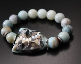 SALE Originally 134.00 Now 107.00 - Artisan lampwork mask bracelet, amazonite bracelet,  genuine diamond bracelet,  boho stretch bracelet