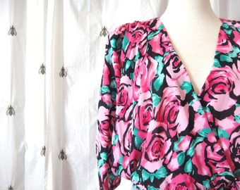 NOW ON SALE! Vintage Pink Roses Plus Dress, New With Tags, Size Extra Large, Graphic Floral Print, J.B. Too, Size 18