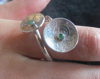 double emerald silver ring