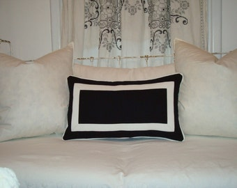 Black and White Rectangle Border Pillow Cover