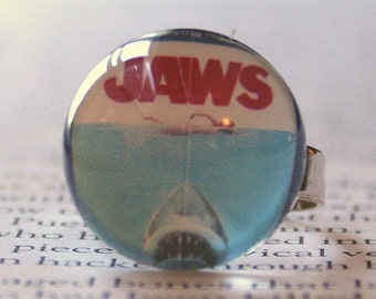 Acrylic Bubble Ring Jaws Classic Movie scene  Bridesmaids Gifts, Shark Movie Memorabilia