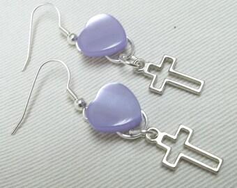 Lilac heart button earrings,silver cross charm,silver cross button earrings,button,lilac button earrings,heart button earrings,lilac heart