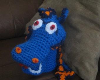 Crochet Blue Dragon Hand Puppet