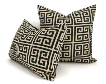Black and Beige Geometric Pillow Cover, Modern Urban Home Decor | 12x16, 12x18, 16x16, 18x18 inches | Greek Key Pattern Pillow Case