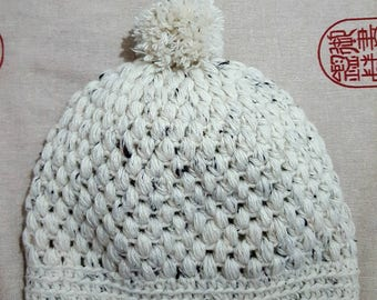 Winter hat-woolen hat-raw color beanie with chocolate-acrylic fiber-crochet