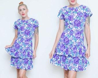 Rose Peplum Dress // Ruffled Party Dress // 80s Flirty Hourglass Bodycon Bow Detail Ruffle Cocktail Small Size 6 7