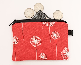 Floral coin purse, small zipper pouch, cute padded dandelion change purse, bright fabric mini zipper bag - coral red and white dandelions