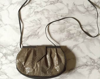 1980s snake skin and leather purse | olive green messenger bag