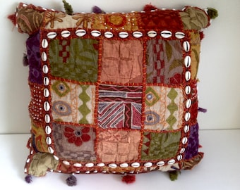 Boho Tapestry Pillow - Embroidered, Mirrors, Cowry Shells - Vintage