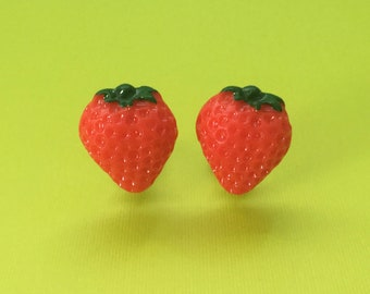 Mini Strawberry Clip-On Earrings