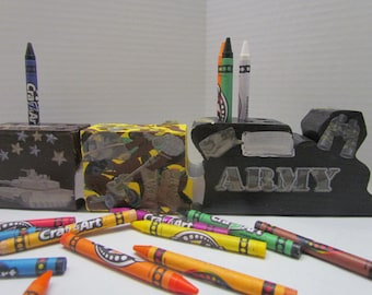 Wooden Army Crayon Train Holder with Crayons~Military Crayon Holder~Support Our Troops Crayon Holder~Patriotic~Educational~Learning~Playtime