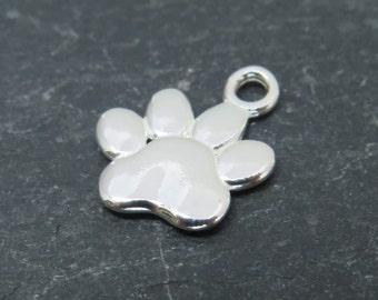Sterling Silver Paw Print Charm 13mm