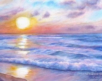 Sunset Beach Watercolor Print Hawaii Ocean Surf Art Tropical Seascape Giclee on Watercolor Paper by Janet Zeh Original Art