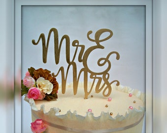 Cake Topper Mr and Mrs Gold