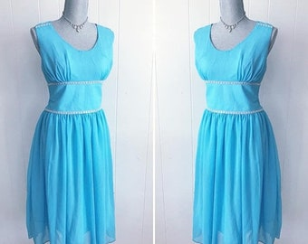20percentoff Beautiful Vintage Sky Blue Party Cocktail Dress -- Rhinestone Trim -- Size L to XL
