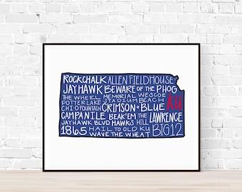 PRINT University of Kansas KU Jayhawks Cardstock Typography Printable Wall Art, Rock chalk Jayhawk, Crimson and Blue, College Football Print