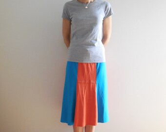 Womens T Shirt Skirt Knee Length Cotton Tees Handmade Flare Recycled Upcycled Clothing Gift for Her Summer by ohzie