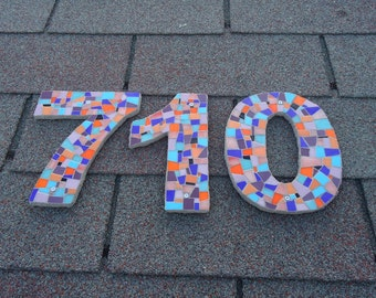 Large Custom Mosaic House Numbers, Modern Outdoor Numbers in Stained Glass