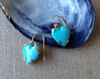 Vintage blue glass heart earrings